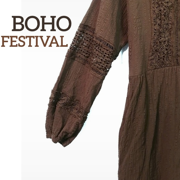 orange creek Dresses & Skirts - Orange Creek Festival Boho Chic Lace Brown Dress